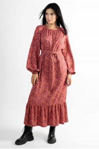 Сукня «Данія» теракотового кольору з принтом