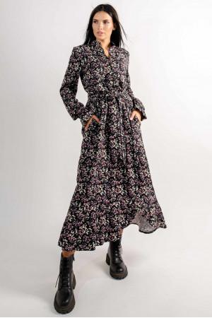 Платье «Флорет» черного цвета с принтом