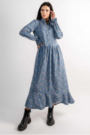 Платье «Флорет» голубого цвета с принтом