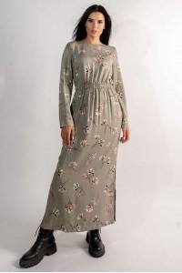 Платье «Аделия» цвета хаки с принтом