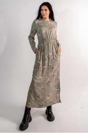 Сукня «Аделія» кольору хакі з принтом