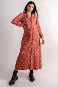Платье «Марви» терракотового цвета с принтом