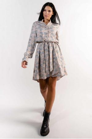 Платье «Флори» бежевого цвета с принтом