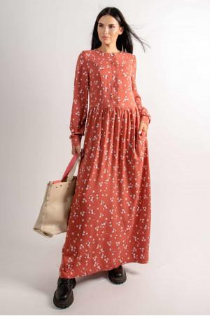 Сукня «Джудіт» теракотового кольору з принтом