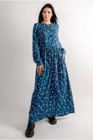 Сукня «Джудіт» синього кольору з принтом