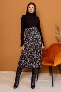 Юбка «Минелли» черного цвета с принтом