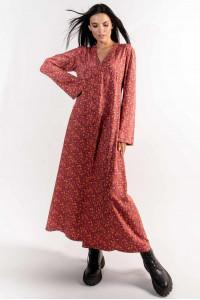 Сукня «Інгрід» теракотового кольору з принтом