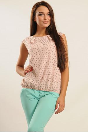 Блуза «Кітті» кольору пудри з принтом-сердечками
