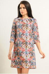 Платье «Волна», цветной принт