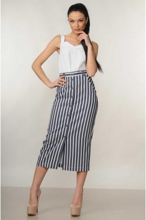 Костюм «Оливия»: белая блуза и юбка в серую полоску