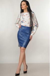 Костюм «Марта-Дакота»: блуза молочного кольору та спідниця синього кольору