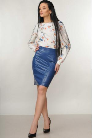 Костюм «Марта-Дакота»: блуза молочного цвета и юбка синего цвета