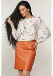 Костюм «Марта-Дакота»: блуза молочного кольору та спідниця карамельного кольору