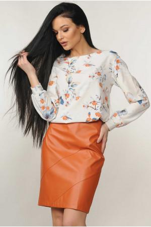 Костюм «Марта-Дакота»: блуза молочного цвета и юбка карамельного цвета