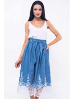 Юбка «Камилла-Джинс» голубого цвета с ажуром