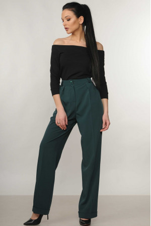 Костюм «Ешлі-Марті»: чорна блуза та брюки смарагдового кольору