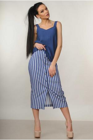 Костюм «Оливия»: синяя блуза и юбка в синюю полоску