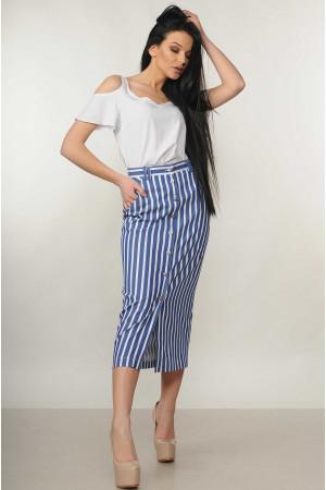 Костюм «Холлі-Олівія»: біла блуза та спідниця в синю полоску