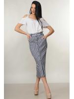 Костюм «Холли-Оливия»: белая блуза и юбка в серую полоску