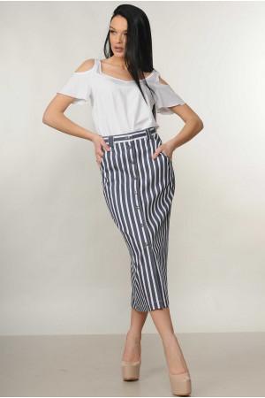 Костюм «Холлі-Олівія»: біла блуза та спідниця в сіру полоску