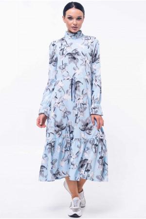 Платье «Рут» голубого цвета с серым принтом
