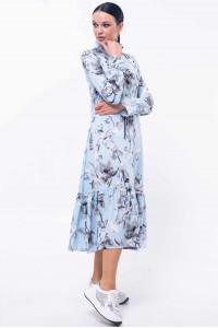 Сукня «Рут» блакитного кольору з сірим принтом