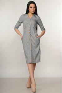 Платье «Киан» серого цвета в клеточку