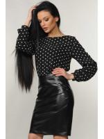 Блуза «Марта» чорного кольору в горошок