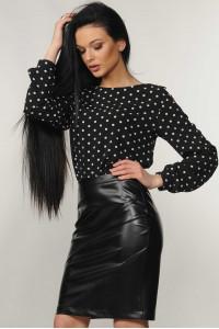Блуза «Марта» черного цвета в горошек