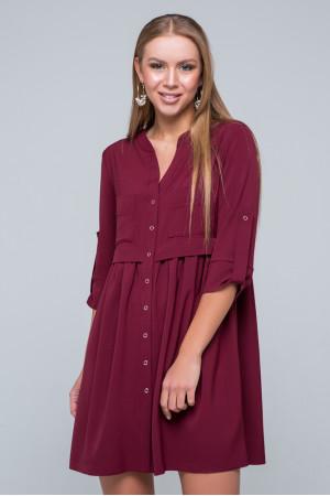 Сукня-сорочка «Герда» кольору бордо