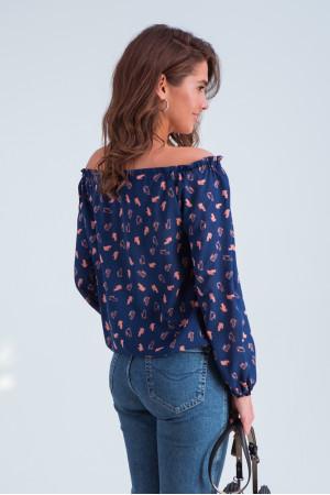 Блуза «Тріксі» синьо-рожевого кольору