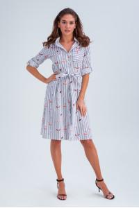 Платье-рубашка «Тиана» синего цвета