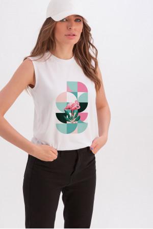Майка «Арабелла» белого цвета с принтом «фламинго-геометрия»