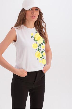 Майка «Арабелла» белого цвета с принтом «лимоны»