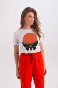Футболка «Ерін» білого кольору з принтом «метелик та Сонце»