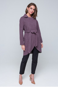 Женское пальто «Ким» сливового цвета