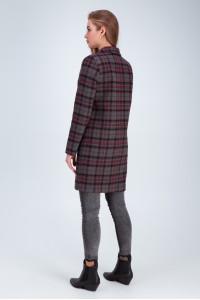 Жіноче пальто «Бьянка» сіро-червоного кольору