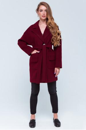 Женское пальто «Джуди» бордового цвета