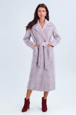 Женское пальто «Элизабет» цвета марсала с принтом-лапка