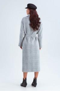 Жіноче пальто «Елізабет» сірого кольору з принтом-лапка