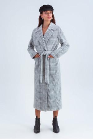 Женское пальто «Элизабет» серого цвета с принтом-лапка