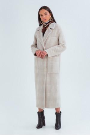 Женское пальто «Элизабет» бежевого цвета с принтом-лапка