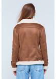 Жіноча дублянка «Синтія» коричнево-білого кольору