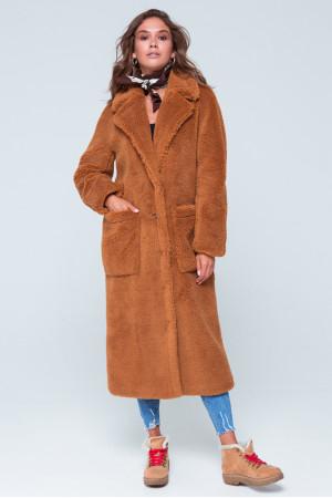 Женское пальто «Леона» коричневого цвета