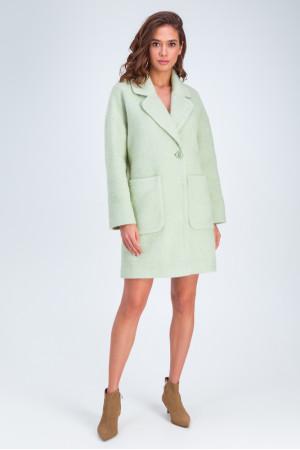 Женское пальто «Дева» фисташкового цвета