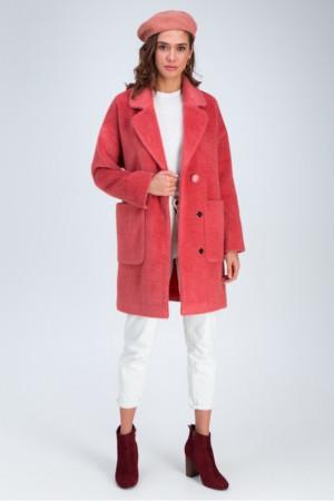 Женское пальто «Дева» кораллового цвета