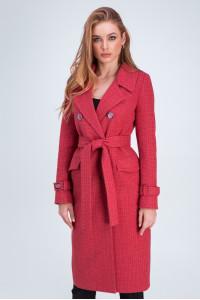 Жіноче пальто «Бруна» коралового кольору