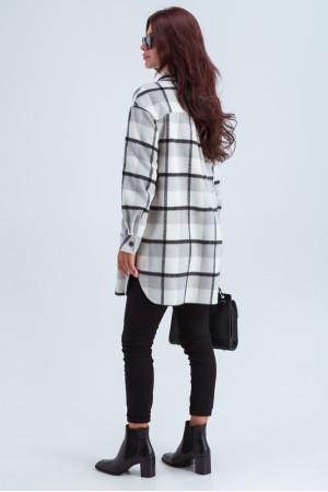 Жіноче пальто-сорочка «Тайра» сіро-білого кольору