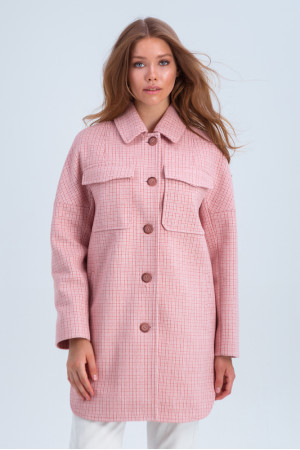 Жіноче пальто-сорочка «Майлі» рожевого кольору