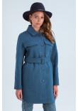 Жіноче пальто-сорочка «Майлі» синього кольору